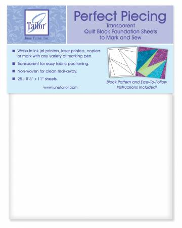 Perfect Piecing Transparent Quilt Block Foundation Sheets 25ct