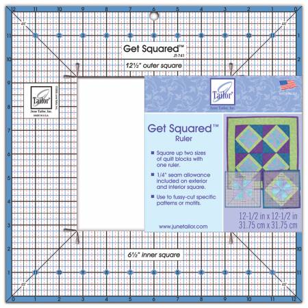 June Taylor Get Squared Ruler 12 1/2in Outer, 6 1/2in Inner