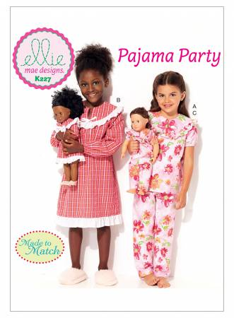 Pajama Party Girls' and 18in Doll Ruffled, Notch-Neck Top, Dress and Pants