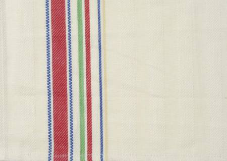 Toweling, Cream with Nostalgic Stripe Red