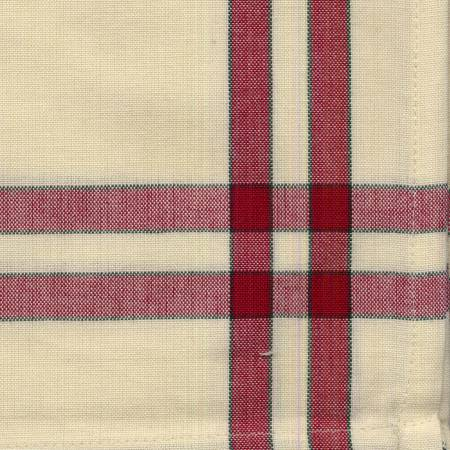 Tea Towel Cranberry/Cream with Green Stripe by Dunroven House