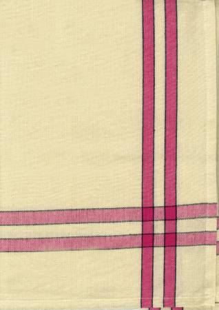 Tea Towel Pink/Cream w/Black Stripe