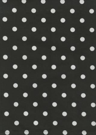 Tea Towel - Black with White Polka Dots