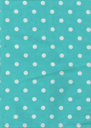 Tea Towel, Printed Polka Dots on Turquoise