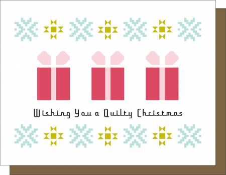 Wishing You a Quilty Christmas - Holiday Note Card - by Kati Cupcake