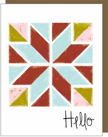 Barn Quilt Hello - Gift Note Card - by Kati Cupcake