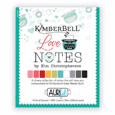KimberBell Love Notes Thread Collection by Aurifil 50wt 10 Small Spools