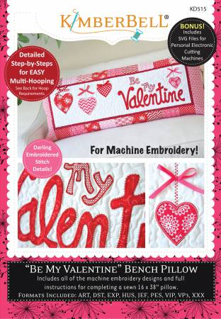 KB Be My Valentine Bench Pillow (Machine Embroidery CD)