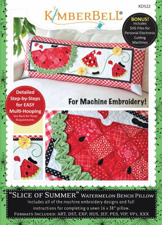 Bench Pillow Slice of Summer Watermelon Machine Embroidery