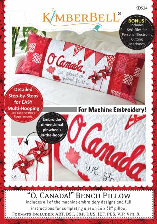 CD, O' Canada! Bench Pillow (Machine Embroidery)