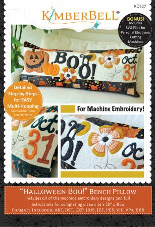CD Halloween Boo! Bench Pillow (Machine Embroidery)