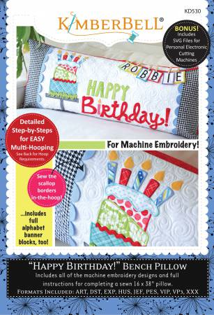 Bench Pillow Happy Birthday Machine Embroidery