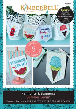 Kimberbell Pennants and Banners Summer Lovin Machine Embroidery CD