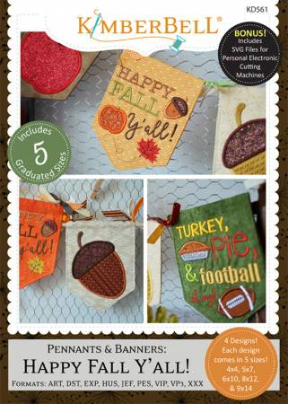Pennants and Banners: Happy Fall Y'All Embroidery CD