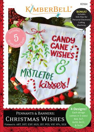 CD KB Pennants and Banners Christmas Wishes Embroidery CD