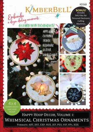 Kimberbell Happy Hoop Decor Volume 1 Whimsical Christmas Ornaments Machine Embroidery