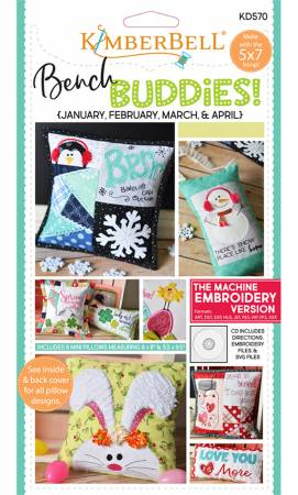 Bench Buddy Series January - April Machine Embroidery CD