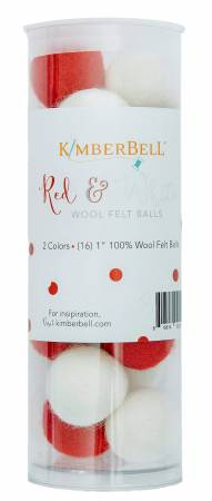 Red and White Wool Felt Balls