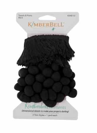 Kimberbellishments Tassels & Poms Trim Black