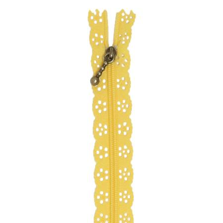 Kimberbellishments 14in Lace Zipper Canary Yellow