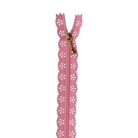 Lace Zipper 14in Flamingo