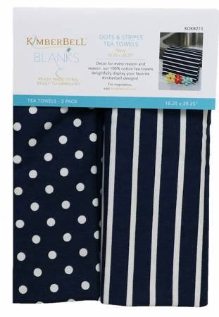 Kimberbell Navy Dots and Stripes Tea Towels