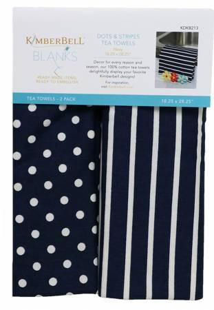 Dots and Stripes Tea Towels Navy