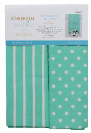 Kimberbell Aqua Dots and Stripes Tea Towels
