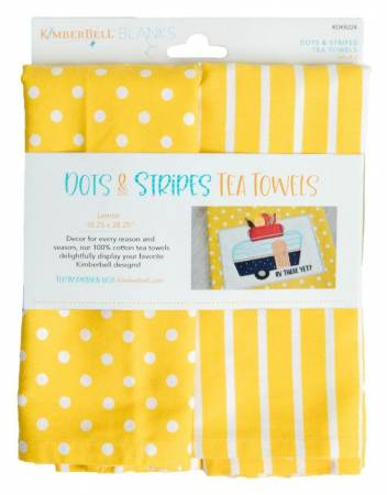 Kimberbell KDKB224 Dots & Stripes Tea Towels Lemon