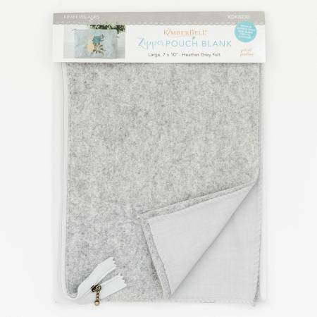 Zipper Pouch Blank Heather Gray Felt Large