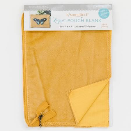 Kimberbell Zipper Pouch Blank Mustard Velveteen Small