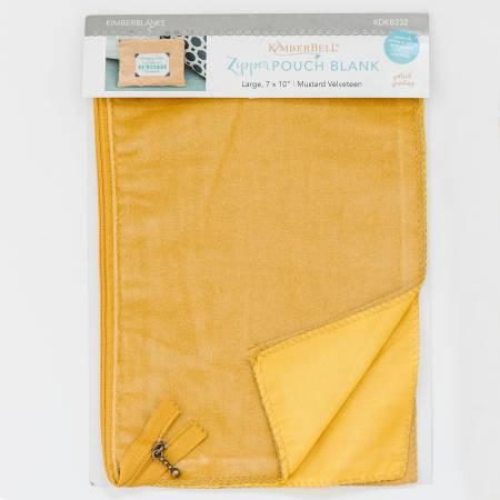 Zipper Pouch Blank Mustard Velveteen Large