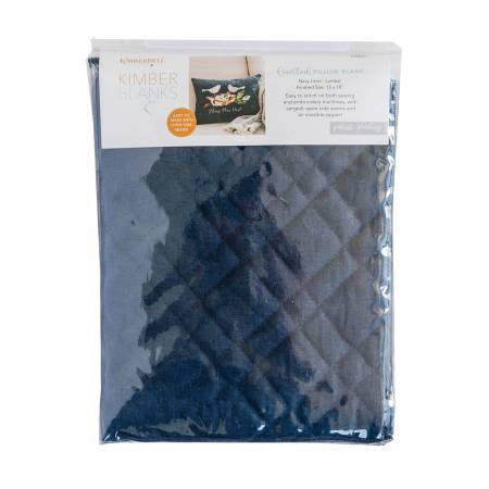 Quilted Pillow Cover Blank, 13inx19in Navy Linen, Plaid Quilting
