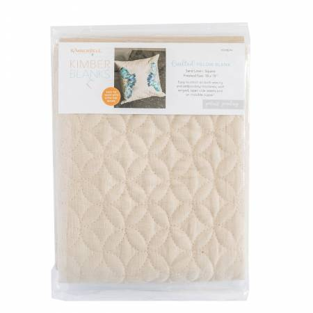 Kimberbell Quilted Pillow Cover Blank, 19x19 Mist Blue Linen,