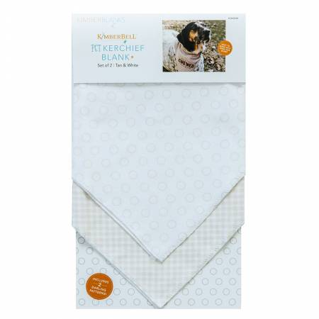 Kimberbell Pet Kerchief Blanks, Set of 2, Tan & White