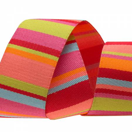 7/8in Ribbon Lime and Coral Roman Stripes  27yd Roll  Retail $3.30/yd