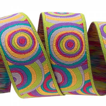 7/8 Lime, Purple, Pink Target- Kaffe Fasset / Renaissance Ribbon