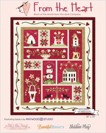 From the Heart BOM Quilt Kit precut, pre-fused 58in x 70in