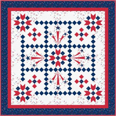 Liberty's Smile Quilt Kit, 70 x 70, Red, White, & Bloom