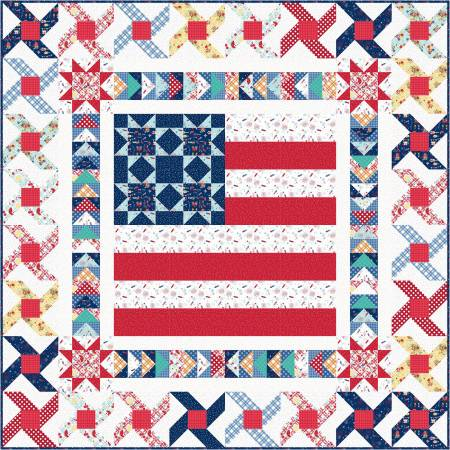 Small Town America Quilt Kit, 48 x 48, Red, White, & Bloom