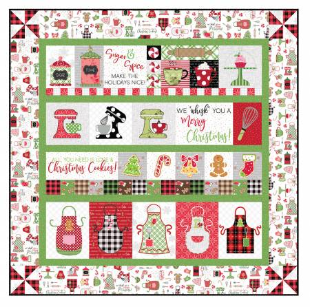 We Whisk You a Merry Christmas Quilt Kit - White Embroidery 40 X 40