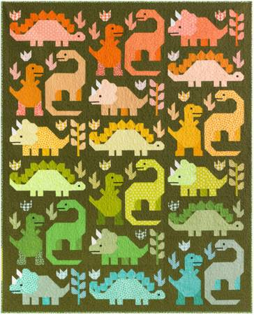 Quilt Kit Dinosaurs 69in x 85in fabric for top & binding pattern included