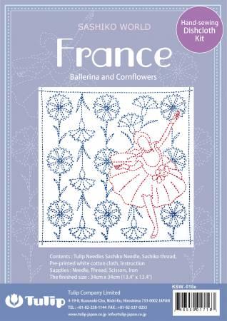SASHIKO WORLD France Ballerina and Cornflowers