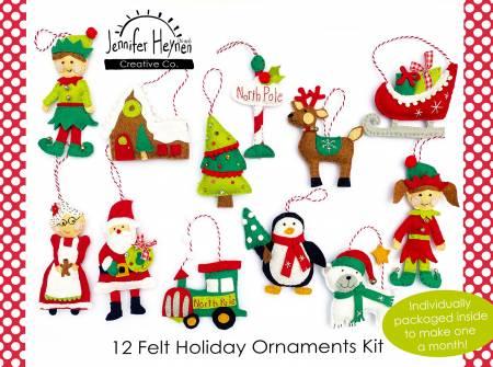 12 Felt Holiday Ornaments Kit