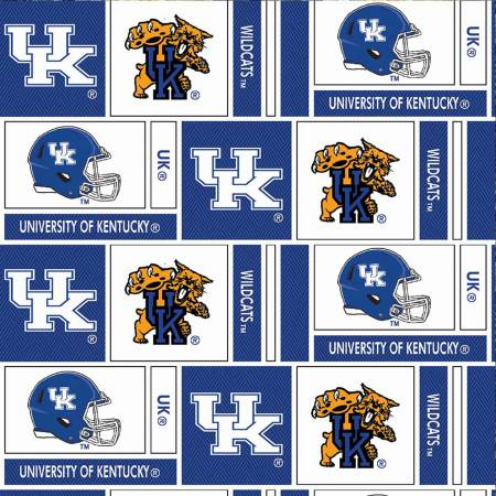 White/Blue Kentucky Squares w/Helmets and Cats