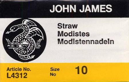 John James Milliners / Straw Uncarded Needles Size 10 25ct