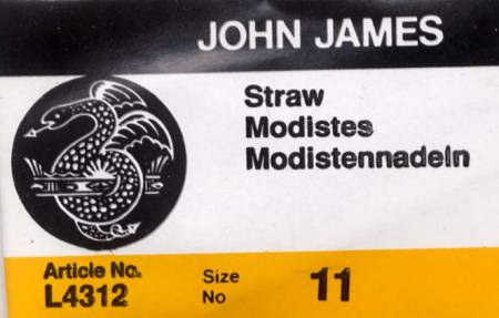 John James Milliners / Straw Uncarded Needles Size 11 - 25ct
