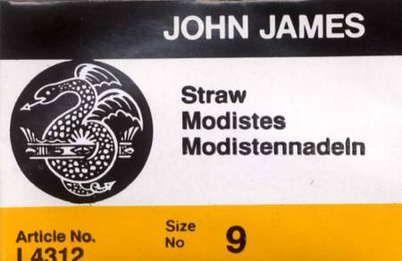 John James Milliners Needles/ Straw Uncarded Needles Size 9 25ct