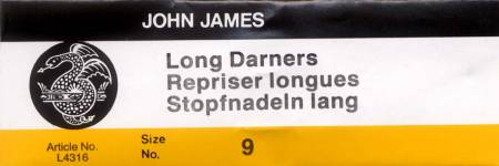 John James Darners Uncarded Needles Size 9 25ct