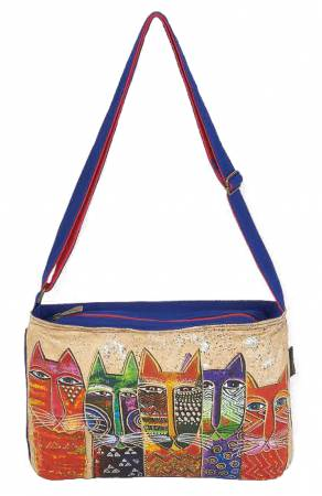 Laurel Burch Long Neck Cats Medium Crossbody Bag